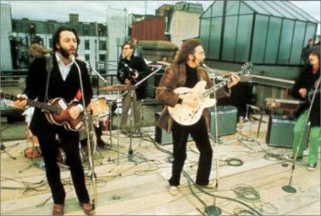 The Beatles perform on the roof of the Apple building, Jan 1969